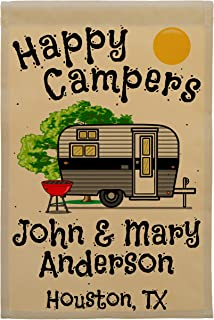 Happy Camper World Personalized Camping Garden Sized Flag, Happy Campers and Vintage Travel Trailer Graphic, with 3 Additi...