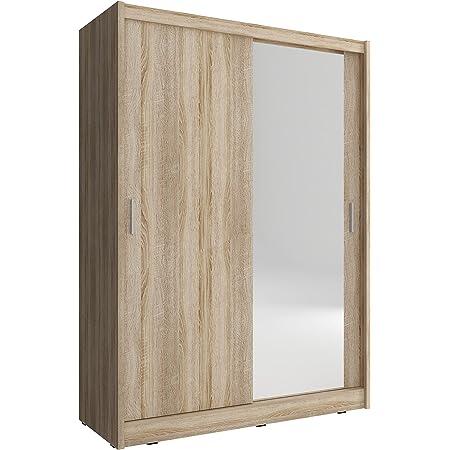 mb-moebel Armoire de Chambre avec 2 Portes coulissantes | Armoire avec Miroir | Penderie (Tringle) avec étagères | Style Contemporain (L x H x P): 130x200x62 Borneo A1 (Sonoma, 130 cm)