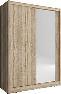 mb-moebel Armoire de Chambre avec 2 Portes coulissantes | Armoire avec Miroir | Penderie (Tringle) avec étagères | Style C...