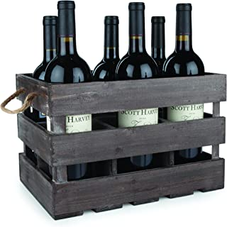 Twine 4281 Rustic Farmhouse Wooden 6 Bottle Crate, 8.75