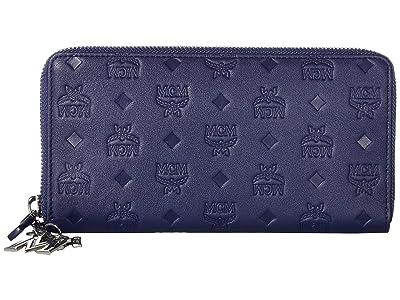 MCM Klara Monogrammed Leather Charm Zipped Wallet Large (Navy Blue) Wallet Handbags