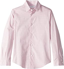 Open Dot Printed Stretch Long Sleeve Shirt (Big Kids)