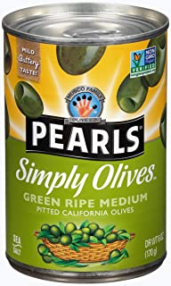 PEARLS Simply Olives, Green Ripe, Pitted Olives, 6 oz, 12-Cans Simply Olives Green Ripe Pitted Olives ,72 Ounce