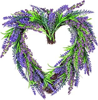 VILIVIT 12 in. H Lavender Wreath - Heart Shaped Wreath Artificial - Everyday Charming Front Door, Wall Decoration with Twig and Flowers in Purple