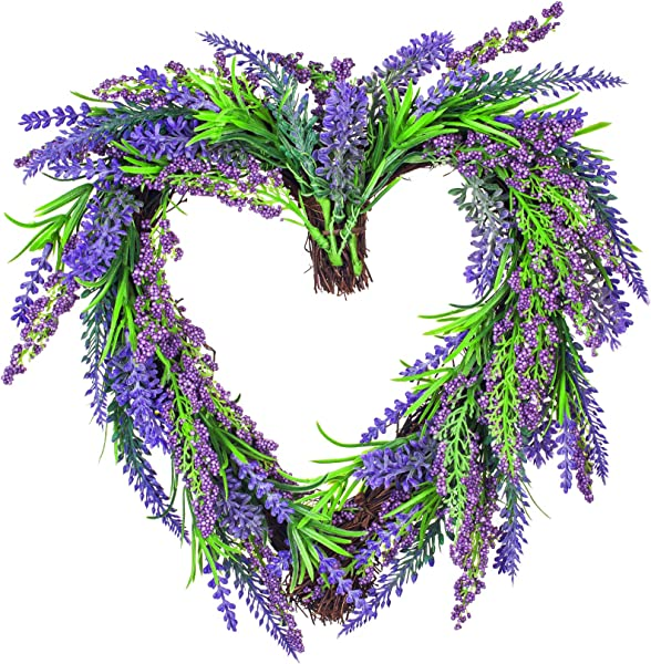 VILIVIT 12 In H Lavender Wreath Super Cute Little Wreath Artificial Everyday Charming Front Door Wall Decoration With Twig And Flowers In Purple Purple Small