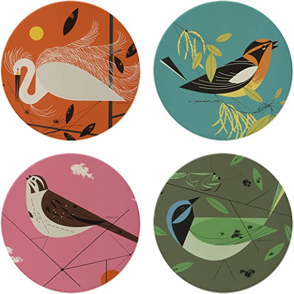 Charley Harper Feathered Friends Absorbent Stone Coaster Set