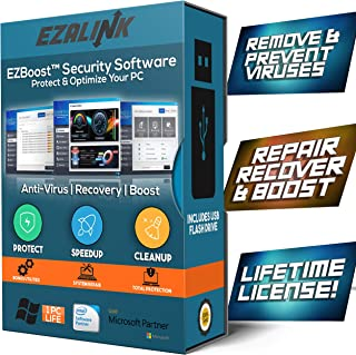 Total Security Antivirus Software for Windows 2019 - Virus Protection, Removal, Scanner with PC Optimizer Tune Up Tools - USB by EzaLink (Pro Lifetime License Key)