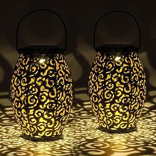 Gadgy Solarna Latarnia Zewnętrzna   Zestaw 2 sztuk Orientalne latarnie ogrodowe metalowe IP44 Wodoodporne   21,5 x 15 cm....