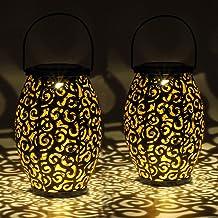 Gadgy Solarna Latarnia Zewnętrzna | Zestaw 2 sztuk Orientalne latarnie ogrodowe metalowe IP44 Wodoodporne | 21,5 x 15 cm....