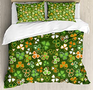 Ambesonne St. Patrick`s Day Duvet Cover Set, Lucky Shamrocks Pattern Irish Clover Celebration Day Party Prints, Decorative 3 Piece Bedding Set with 2 Pillow Shams, Queen Size, Orange Green