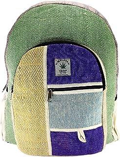 Mochila orgánica 100%. De Fibra de cáñamo y algodón a Rayas Compartimento para Ordenador portátil, Hecho en Nepal.art9