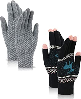 Simplicity 2 Pairs Women's Winter 3 Finger Touchscreen Sensitive Double Layered Warm Knit Gloves
