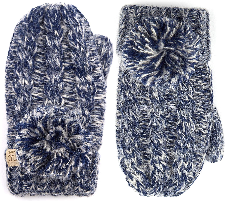 C.C Various Kinds Of Color Ribbed Knit Children Mitten(MT-23 KIDS)(Navy)