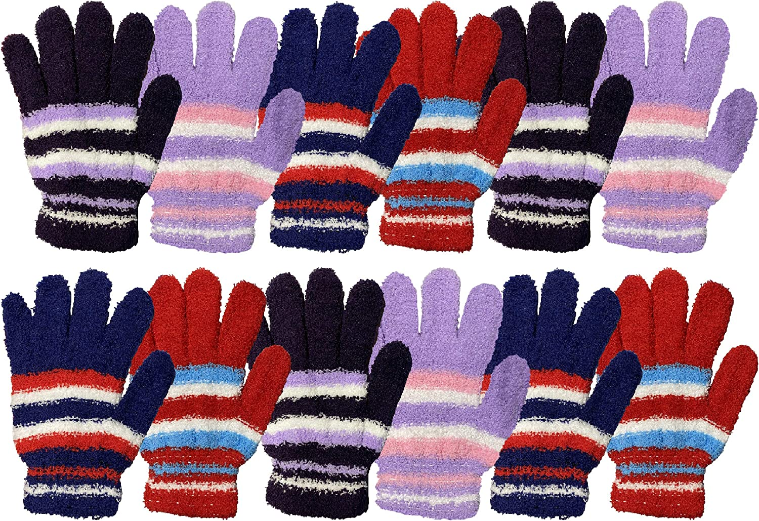 Yacht & Smith Women's Fuzzy Winter Gloves, Magic Stretch, Purple Red and Navy Blue, Soft Furry, Bulk (Stripes (Assorted), 12 PACK)