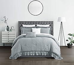 Chic Home Kensley 5 Piece Comforter Set Washed Crinkle Ruffled Flange Border Design Bedding - Decorative Pillows Shams Inc...
