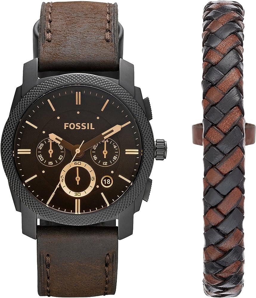 Fossil, orologio cronografo per uomo,cassa in acciaio inossidabile,e con cinturino in pelle + bracciale FS5251SET