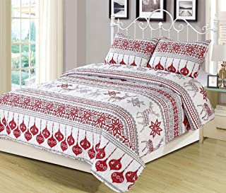 Winter Holiday Full/Queen Quilt Bedding Set Red Grey White Christmas Ornament Reindeer