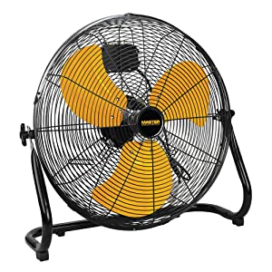 Master 20 Inch Industrial High Velocity Floor Fan - Direct Drive, All-Metal Construction with Steel-Coated Safety Grill, 3 Speed Settings (MAC-20F), Black & Yellow