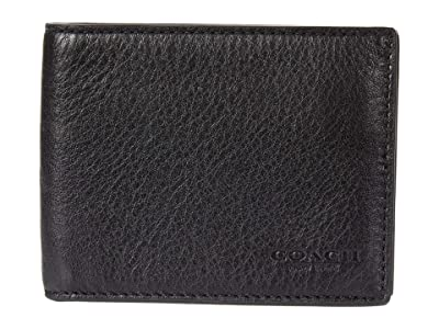 COACH Slim Bifold in Sport Calf (Black) Wallet Handbags