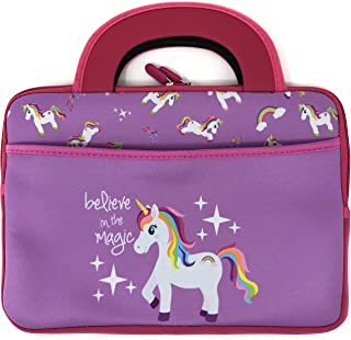 10 Inch Unicorn Carrying Case Fits Leapfrog Epic LeapPad Platinum Ultimate Ultra XDI Kids Girl Boy Tablet Travel Activity Sleeve Bag Tote Handle Zipper Pocket (Unicorn)