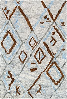 Safavieh Casablanca Shag Collection CSB637F Handmade Moroccan Boho Tribal Wool Area Rug, 4' x 6', Grey / Blue