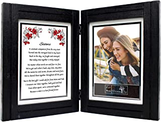 """Sisters Gifts from Sister - 5x7 Picture Frame and \""""Sisters\"""" Poem - Birthday, Valentines Day, Wedding, Christmas, Long Di..."""