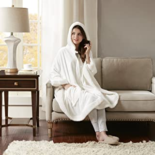 """Comfort Spaces Glimmersoft Plush to Sherpa Pocket Hooded Angel Wrap Ultra Soft Wearable Poncho Blanket Throw, 58""""x72"""", Ivory"""