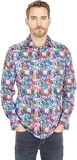 Mixed Media Long Sleeve Woven Shirt