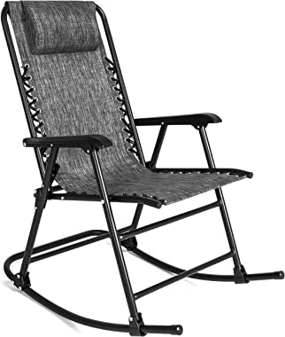 Best Choice Products Foldable Zero Gravity Rocking Mesh Patio Lounge Chair w/Headrest Pillow - Gray