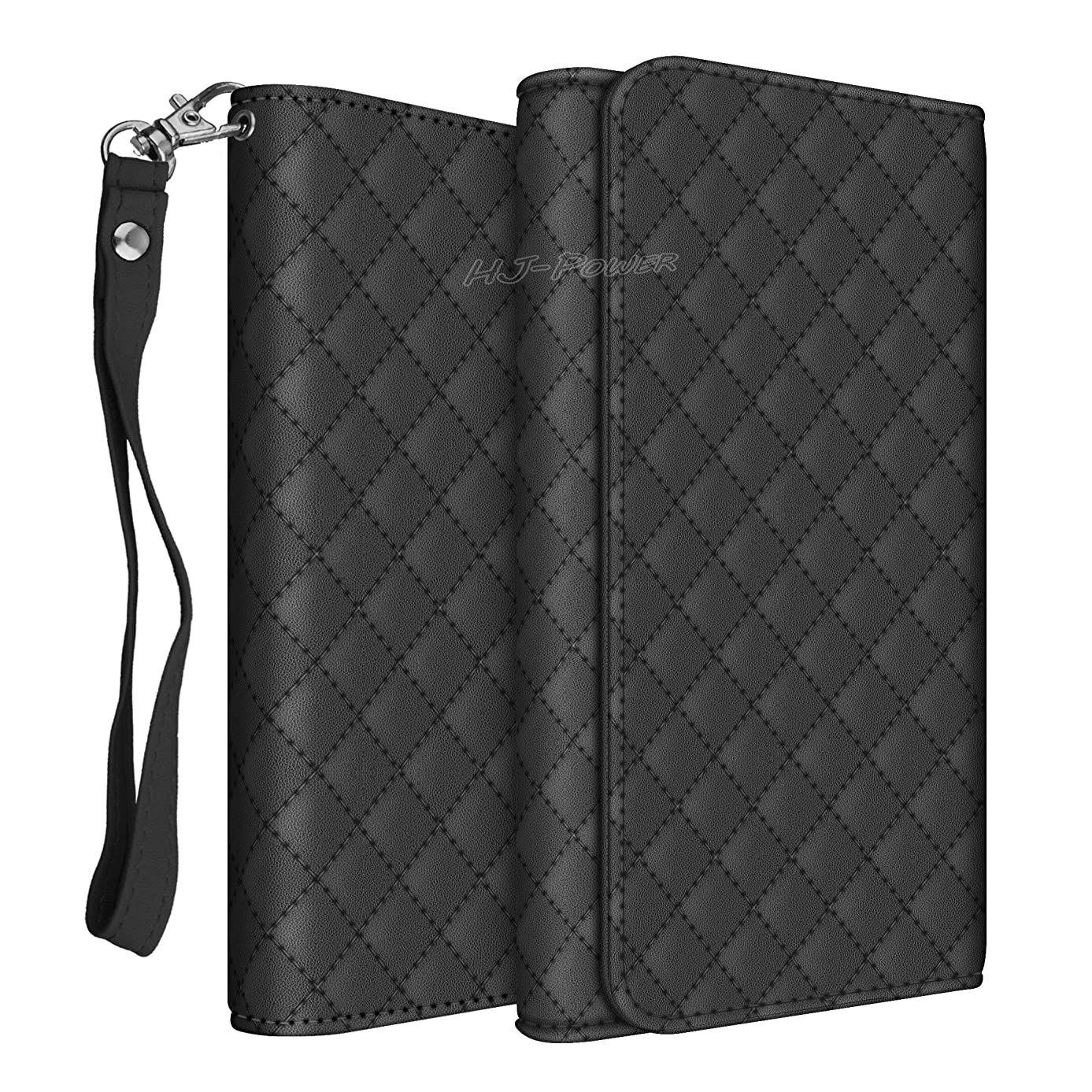 HJ Power[TM] CH5 Smart Phone Universal PU Leather Checker Style Wallet Pouch is Compatible with BLU G9 (Unlocked)- Black