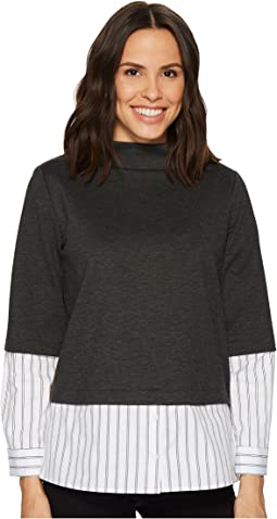 Vince Camuto - Long Sleeve Mock Neck Mix Media Ponte Top w/ Yard Dyed Stripe