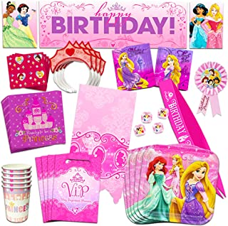 Disney Princess Party Supplies Mega Set -- Party Favors, Birthday Party Decorations, Plates, Cups, Napkins, Table Cover and More!