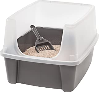 IRIS Open-Top Cat Litter Box with Clear High-Shield without Scoop, Dark Gray