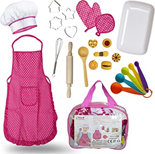Next Milestones Chef Costume for Kids 19pc Accessories Include Apron, Chef Hat, Oven Mitt, Hand Mixer, Cookie Cutters, Measuring Spoons, Wooden Rolling Pin, Wooden Ladle Mixer and Bag for Toy Storage