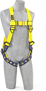 3M DBI-SALA Delta 1102000 Vest Style Harness, Back D-Ring, Tongue Buckle Leg Straps, Universal, Navy/Yellow