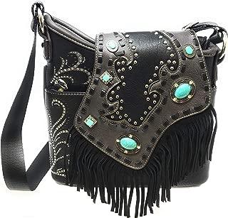 Montana West Ladies Purse Turquoise Rhinestones Leather Fringe