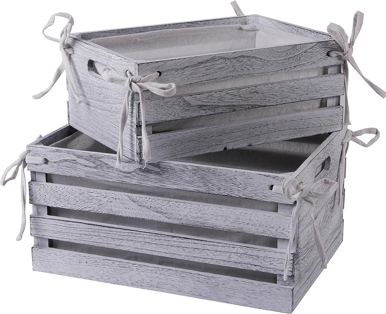 Gorgeous SLPR Decorative Lined Storage Wooden Cheap White Set of 2 Crates