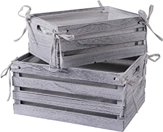 SLPR Decorative Lined Storage Wooden Crates (Set of 2, White) | Perfect for Floral Arrangements Wedding Decoration Vintage Country Chic Rustic Distressed Style