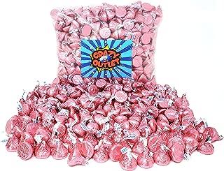 CrazyOutlet Pack - Hershey's Kisses Pink Foil Wrap, Milk Chocolate Candy Bulk, 1 Lb Pack