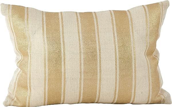 SARO 生活方式金属挫败条纹设计麻布黄麻羽绒填充抱枕 14X20 象牙
