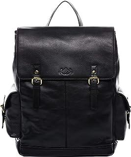 SID & VAIN Rucksack echt Leder Samy groß Kurierrucksack Fahrradrucksack Backpack Tagesrucksack Laptopfach Lederrucksack Unisex schwarz