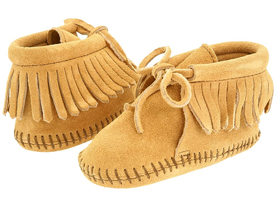 Minnetonka Kids Fringe Bootie (Infant/Toddler) (Tan Suede) Kids Shoes