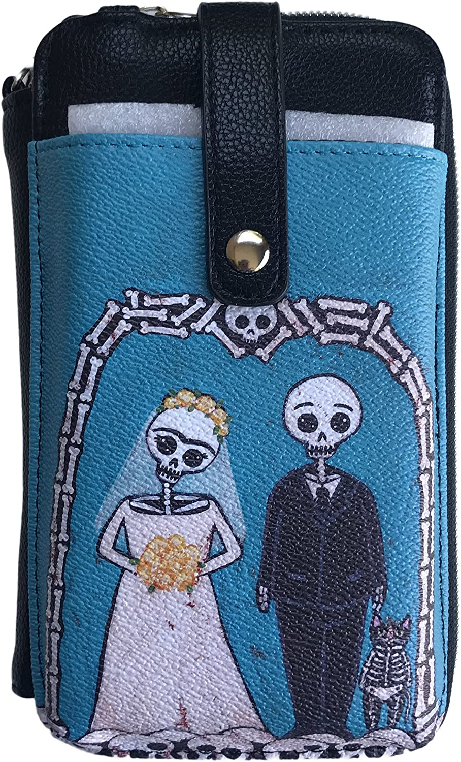 Ashley M. Cute Skeleton Couple Cell Phone Wristlet Cross Body Wallet Purse bluee