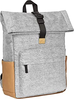 Amazon Basics - Mochila gris antirrobo con cierre enrollable