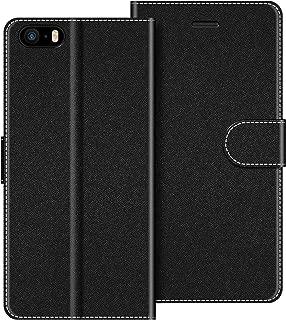 COODIO Funda iPhone SE con Tapa, Funda Movil iPhone SE, Funda Libro iPhone 5S Carcasa Magnético Funda para iPhone SE/iPhone 5S / iPhone 5, Negro
