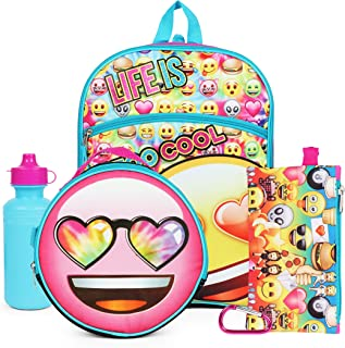Emoji Yellow Rainbow Hearts Back to School Essentials Set for Girls Backpack
