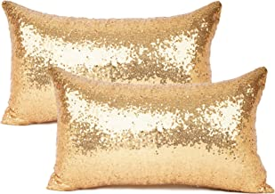 YOUR SMILE Pack of 2, New Luxury Series Gold Decorative Glitzy Sequin & Comfy Satin Solid Throw Pillow Cover Cushion Case for Wedding/Christmas,12