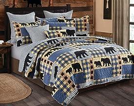 Virah Bella 3 Piece Black Bear Blue Plaid Quilt Set (King)
