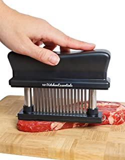 Meat Tenderizer Tool - 48 Blades Durable Stainless Steel Meat Tenderizer (Black) – Suitable For Tendering Chicken, Pork, Steak And Fish – White & Red Meat Tenderizer For All Kitchens