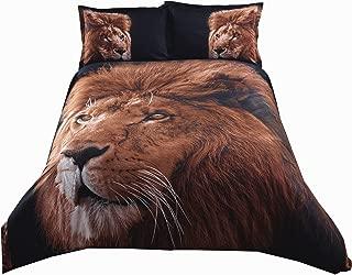 Alicemall 3D Super Cool Big Lion Head Prints Bedding Brown Black 4 Pieces Lightweight Microfiber Duvet Cover Set, Queen Size